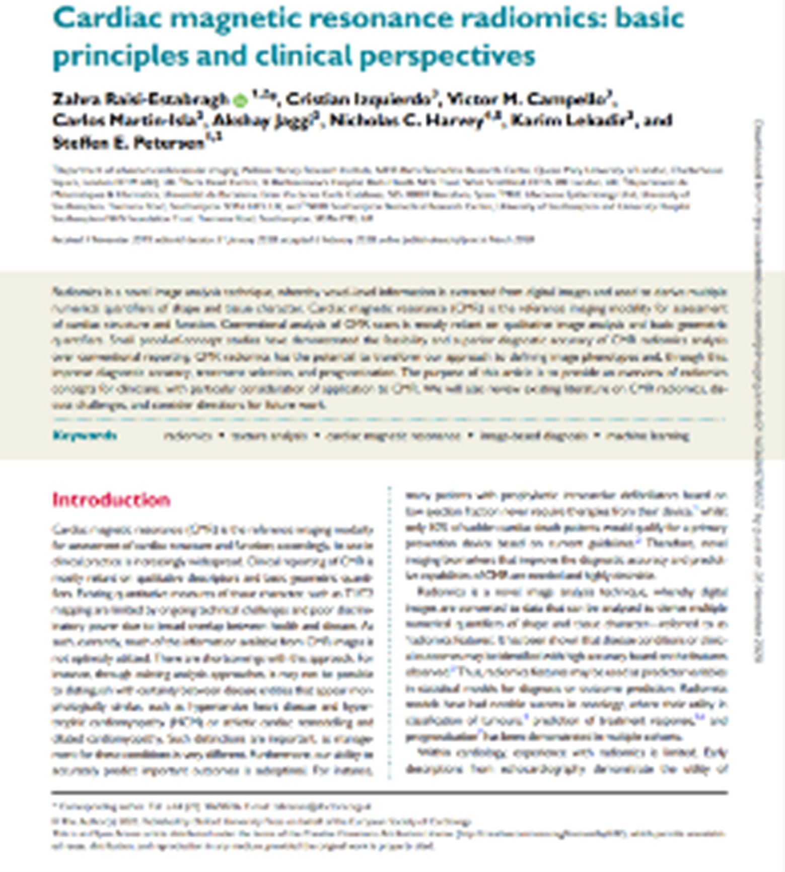 Cardiac magnetic resonance radiomics: basic principles and clinical perspectives