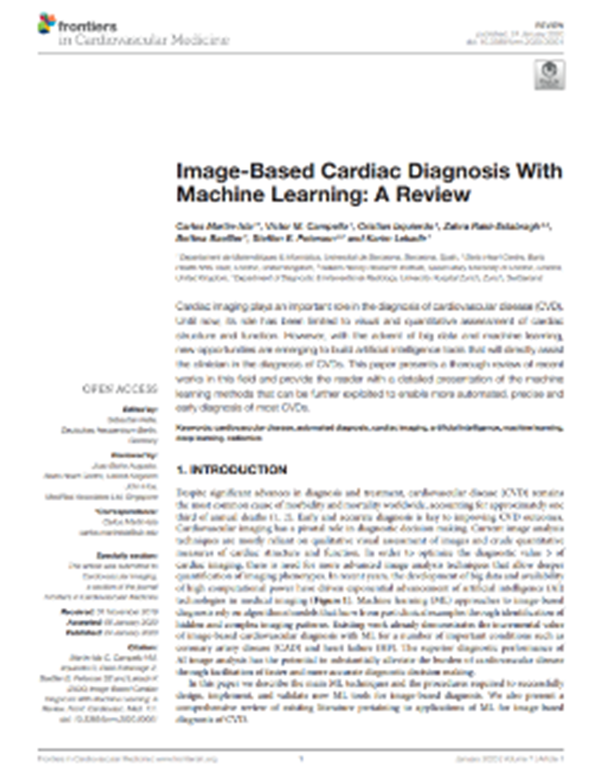 Image-Based Cardiac Diagnosis With Machine Learning: A Review