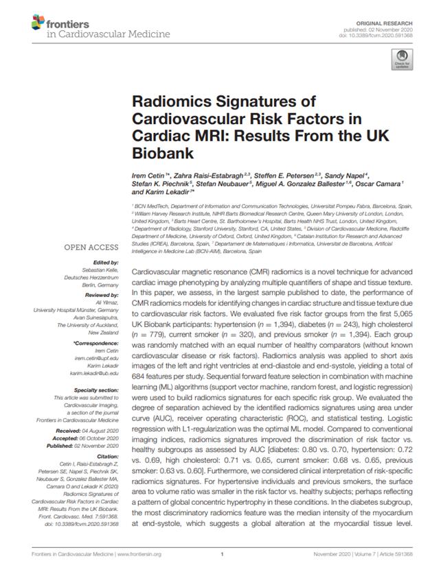 Radiomics Signatures of Cardiovascular Risk Factors in Cardiac MRI: Results From the UK Biobank