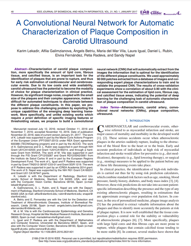 A convolutional neural network for automatic characterization of plaque composition in carotid ultrasound