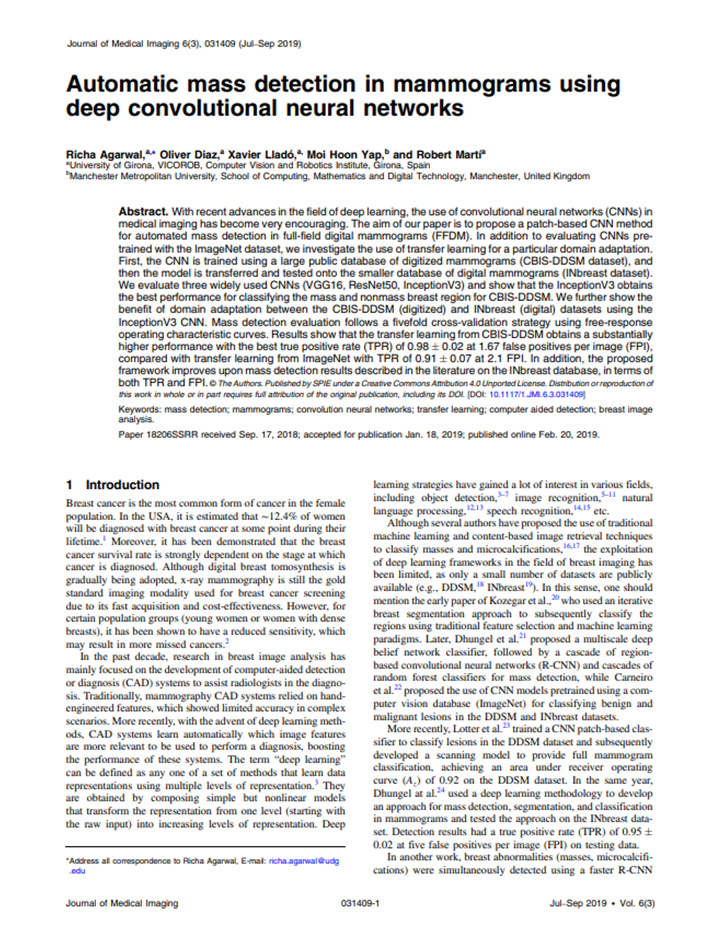 Automatic mass detection in mammograms using deep convolutional neural networks