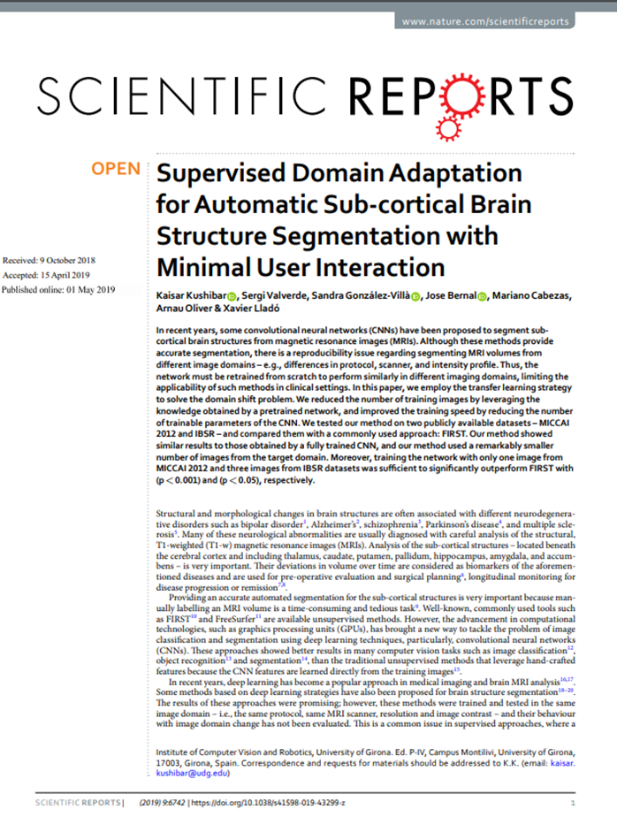 Supervised Domain Adaptation for Automatic Sub-cortical Brain Structure Segmentation with Minimal User Interaction