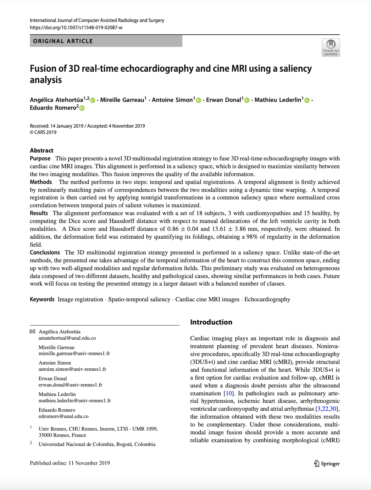 Fusion of 3D real-time Echocardiography and cine MRI using a Saliency Analysis