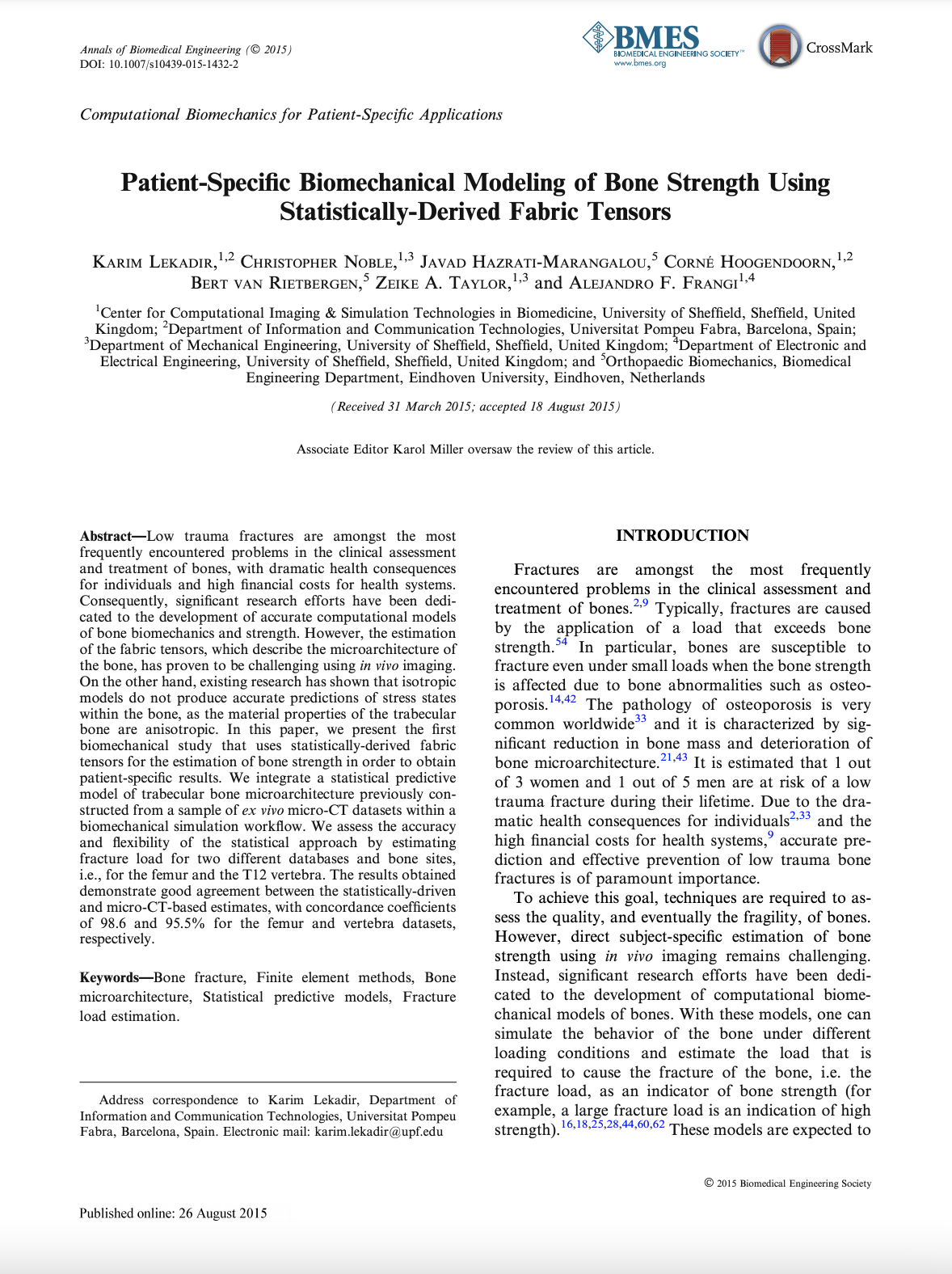 Patient-Specific Biomechanical Modeling of Bone Strength Using Statistically-Derived Fabric Tensors