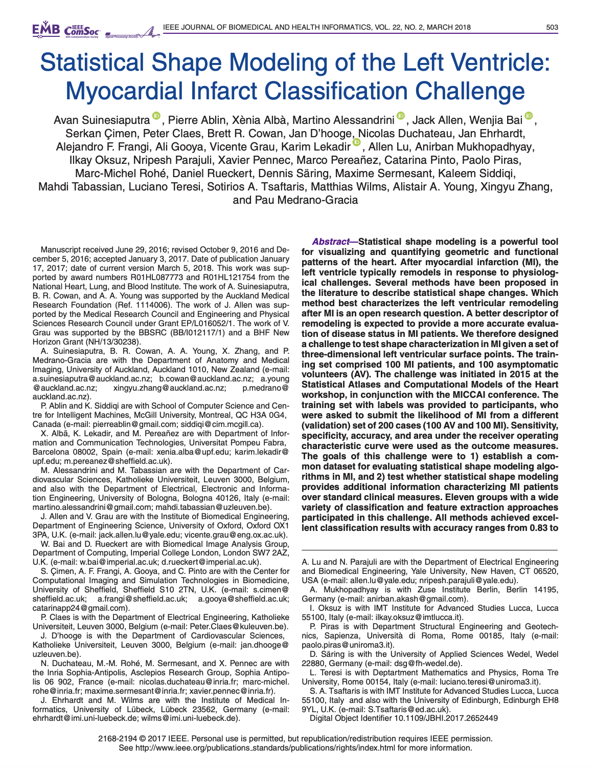 Statistical Shape Modeling of the Left Ventricle: Myocardial Infarct Classification Challenge